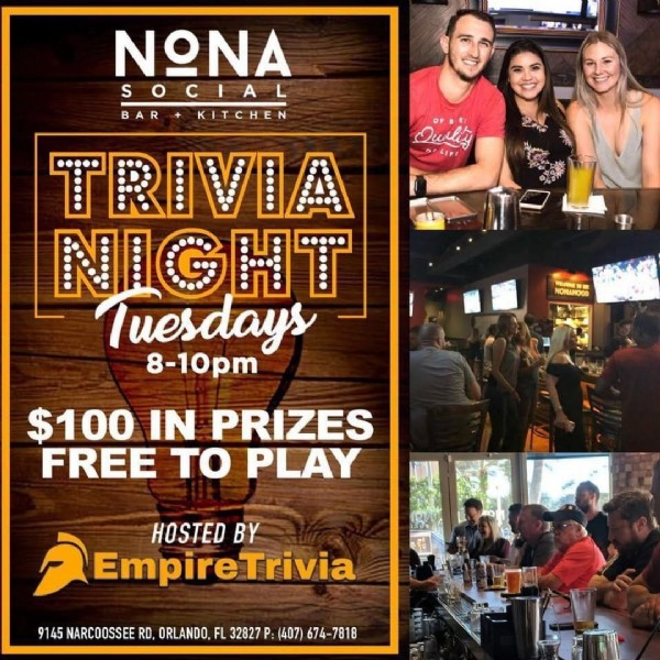 Photo by Nona Social Bar & Kitchen on November 16, 2020. May be an image of 4 people, drink and text that says 'Ouilty ΝΩΝΑ SOCIAL BAR+KITCHEN BAR KITCHEN TRIVIA NIGHT Tuesdays 8-10pm NONAHOOD $100 IN PRIZES FREE TO PLAY HOSTED BY EmpireTrivia 9145 NARCOOSSEE RD. ORLANDO FL 32827 P: (407) 674-7818'.