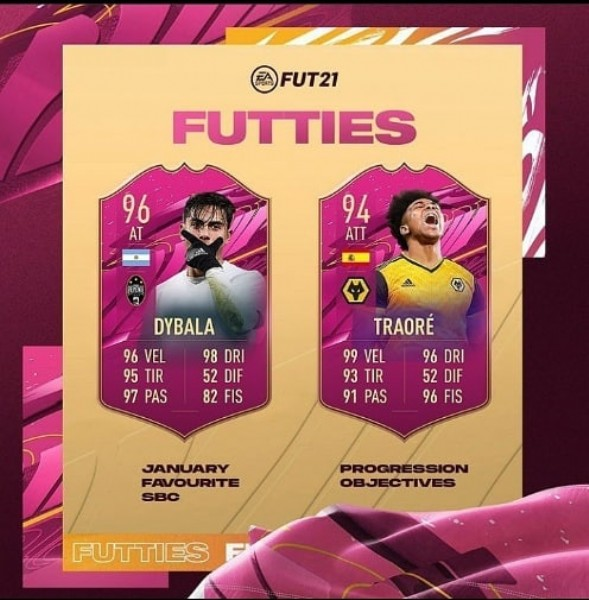 Photo by Venda de Coins in Rio de Janeiro, Rio de Janeiro with @paulodybala, and @adamatrd37. May be an image of 2 people and text that says 'FUT21 FUTTIES 96 AT 94 ATT ELE DYBALA 96 VEL 98 DRI 95 TIR 52 DIF 97 PAS 82 FIS TRAORÉ 99 VEL 96 DRI 93 TIR 52 DIF 91 PAS 96 FIS JANUARY FAVOURITE PROGRESSION OBJECTIVES FUTTIES'.