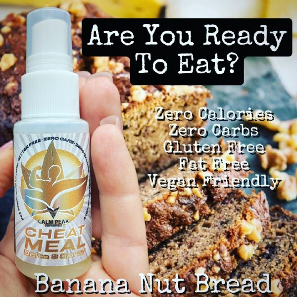 Photo by Calm Peak on August 03, 2021. May be an image of text that says 'Are You Ready To Eat? AL ZERO CARB ZERO Zero Calories Zero Carbs Gluten Free Fat Free Vegan Friendly CALMPEAK CHEAT MEAL Delta Spray Banana Nut Bread'.