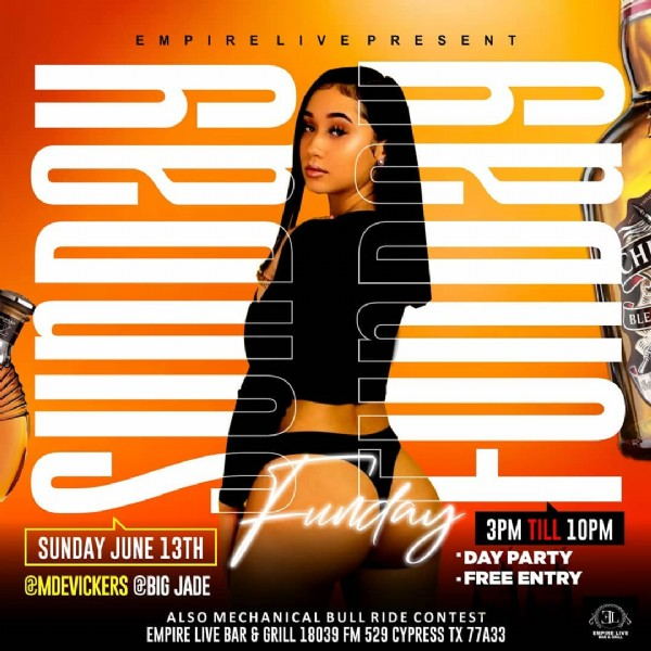 Photo shared by Ajigraphix on June 05, 2021 tagging @djbossross, @evolve_or_die_061, @exhale_bar_dc, @b4m.___, @ghost_bar_atlanta, @oh.ent, and @venetianatl. May be an image of 1 person and text that says 'EMPIRELIVEPRESENT BLE 3PM TILL 10PM SUNDAY JUNE 13TH Fundpay DAYPARTY @MDEVICKERS CBIG JADE .FREE ENTRY ALSO MECHANICAL BULL RIDE CONTEST EMPIRE LIVE BAR GRILL 18039 FM 529 CYPRESS TX 77A33 EMPIRELIVE'.