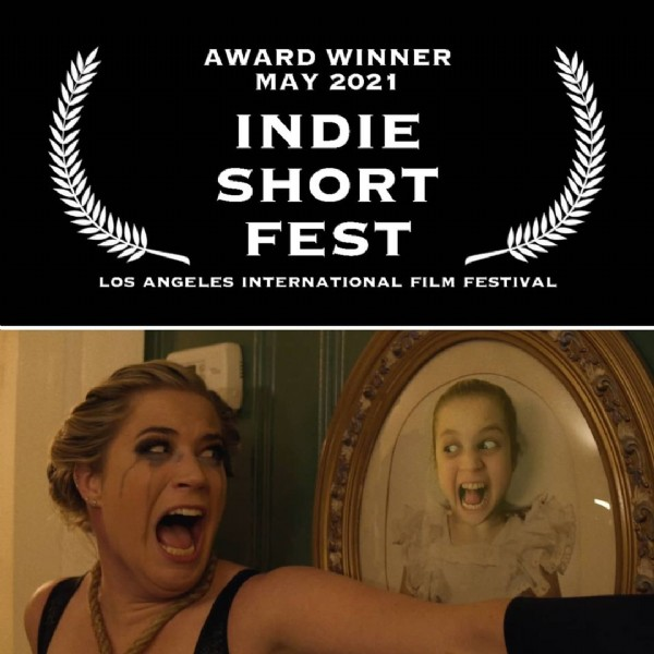 Photo shared by One Eye Wilde on May 08, 2021 tagging @indieshortfest. May be an image of 2 people and text that says 'AWARD WINNER MAY 2021 INDIE SHORT FEST LOS ANGELES INTERNATIONAL FILM FESTIVAL'.