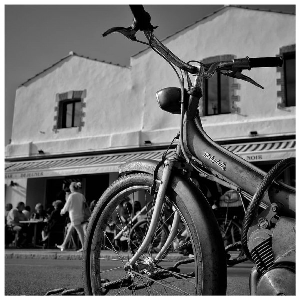 Photo by Olivier Prt in Noirmoutier-En-L'Île, Pays De La Loire, France. May be a black-and-white image of bicycle and outdoors.