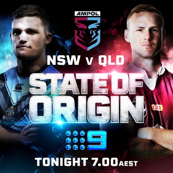 Photo by NRL on Nine on June 08, 2021. May be an image of 2 people and text that says 'AMPOL 國 NSW V QLD STATEOF ORIGIN XIXX TONIGHT 7.00 AEST'.