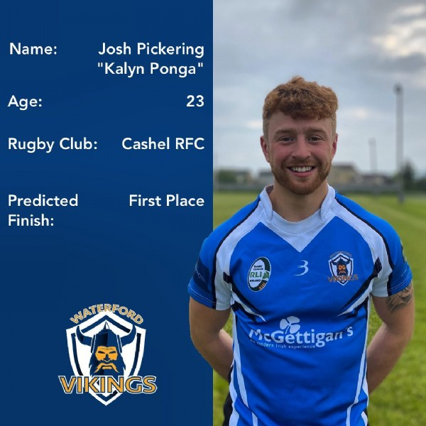 """Photo by Waterford Vikings in Waterford, Ireland. May be an image of 1 person, outdoors and text that says 'Name: Josh Pickering """"Kalyn Ponga"""" Age: 23 Rugby Club: Cashel RFC Predicted Finish: First Place RLI WATERFORD McGettigan Gettiga modernIrishexperience hexperien VIKINGS'."""