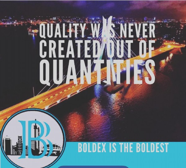 Photo by BOLDEX BESPOKE REALTY in Ikoyi, Lagos, Nigeria. May be an image of text that says 'QUALITY W NEVER CREATEDOUT OF QUANTITIES B BOLDEX IS THE BOLDEST'.