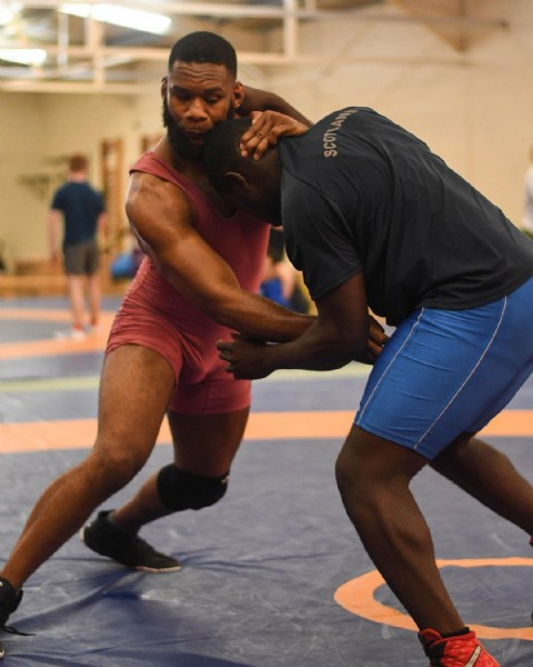 Photo shared by England Wrestling on June 14, 2021 tagging @nathaniel5553. May be an image of one or more people, people playing sports and indoor.