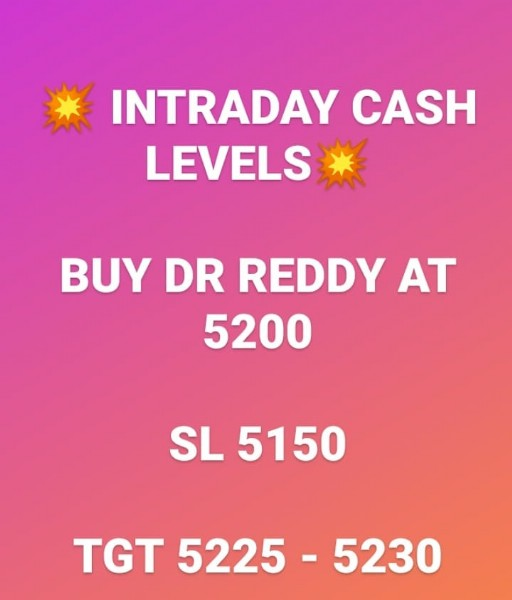 Photo by Sapna sharma on June 07, 2021. May be an image of text that says 'INTRADAY CASH LEVELS BUY DR REDDY AT 5200 SL 5150 TGT 5225 5230'.