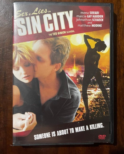 Photo by Jason Walker  in Saco, Maine. May be an image of 2 people and text that says 'SINCITY Sexs Lies mena SUVARI marcia GAY HARDEN johnathon SCHAECH and matthew MODINE THE TED BINION SCANDAL SOMEONE IS ABOUT TO MAKE A KILLING. DVD'.