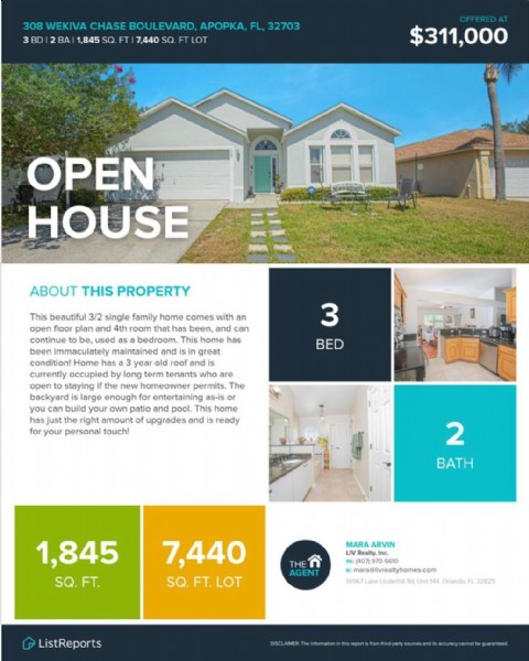 Photo by Mara Arvin, Realtor®️ on May 29, 2021. May be an image of text that says '308 WEKIVA CHASE BOULEVARD, APOpKa, FL, 32703 BD BAI 1,845 SQ. FT 7,440 SQ. FT LOT $311,000 OPEN HOUSE ABOUT THIS PROPERTY has beautiful 3/2 single family home comes with an open plan and room that has been, and can used This has ndi great and tenants who are staying new nomeowner permits. The large enough as-is your own atio and pool. home amount upgrades and ready personal 3 BED can for 2 BATH 1,845 SQ. FT. MARA ARVIN Realty, 7,440 SQ. FT.LOT THE maragilivrealtyhomes.com homes.com 10967 Underhil ListReports L32825'.