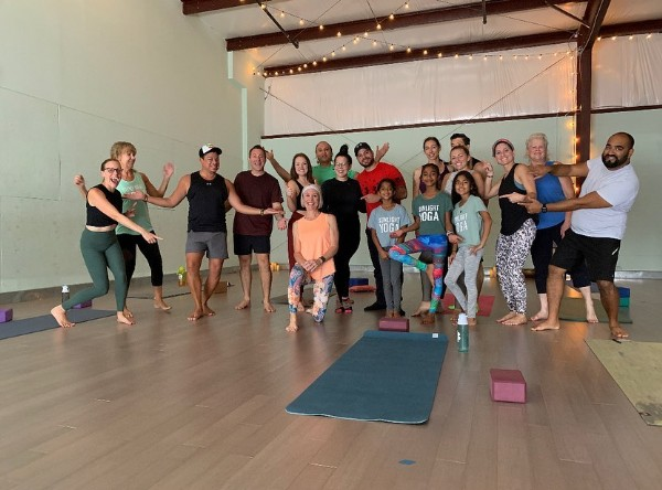 Photo shared by Sunlight Yoga on April 27, 2021 tagging @engelhardtelliott. May be an image of 8 people, people standing and indoor.