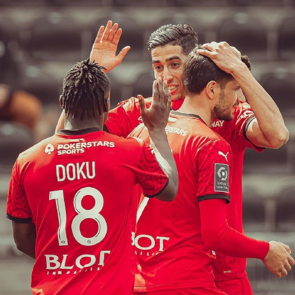 Photo shared by Stade Rennais F.C. on June 15, 2021 tagging @martin_terrier, @nayefaguerd, and @jeremydoku. May be an image of 2 people.