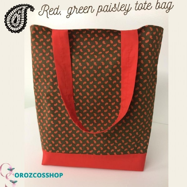 Photo by Gabriela Orozco on June 19, 2021. May be an image of purse and text that says 'J Red, green paisley tote bag OROZCOSSHOP'.