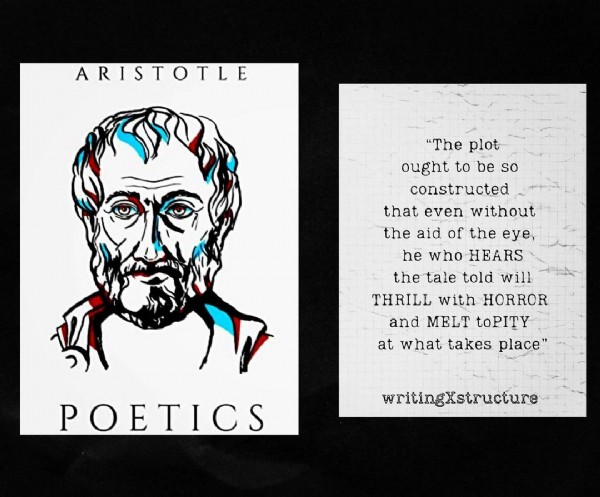 """Photo by writingXstructure in New York, New York. May be an illustration of one or more people and text that says 'ARISTOTLE """"The """"Thplt plot ought to be so constructed that even without the aid of the eye, he who HEARS the tale told will THRILL with HORROR and MELT toPITY at what takes place"""" POETICS writingXstructure'."""