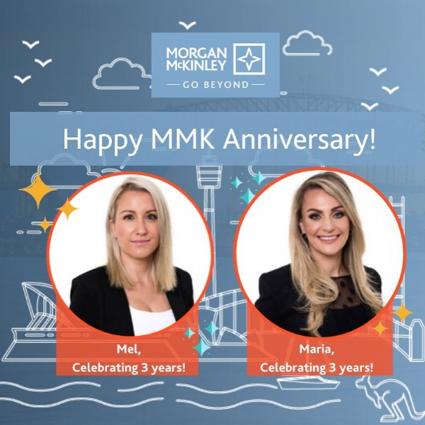 Photo by Morgan McKinley on April 21, 2021. May be an image of one or more people and text that says 'MORGAN McKINLEY BEYOND Happy MMK Anniversary! Mel, Celebrating 3 years! Maria, Celebrating 3 years!'.