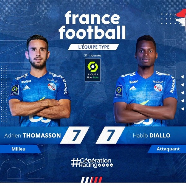 Photo by RCSA in Matmut ATLANTIQUE with @h_ina_diallo_20, and @adrien_thomasson26. May be an image of 2 people and text.