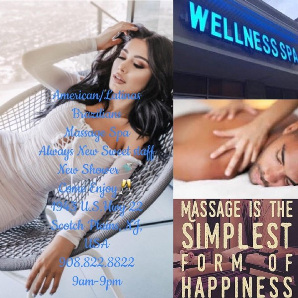Photo by @spa.908.822.8822.therapy on June 18, 2021. May be an image of 1 person and text that says 'WELLNESS American/ Latinas Brazilians Massage Spa Always New Sweet staff New Shower ComeEnjoy U.S.Hwy Scotch Plains, USA 908.822.8822 9am-9pm MASSAGE IS THE SIMPLEST FORM F HAPPINESS'.