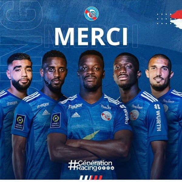 Photo shared by Actualités du RC Strasbourg ⚪ on May 26, 2021 tagging @kevin_zohi, @lionelcarole23, @saadi.idriss, and @lams_1989. May be an image of 5 people.