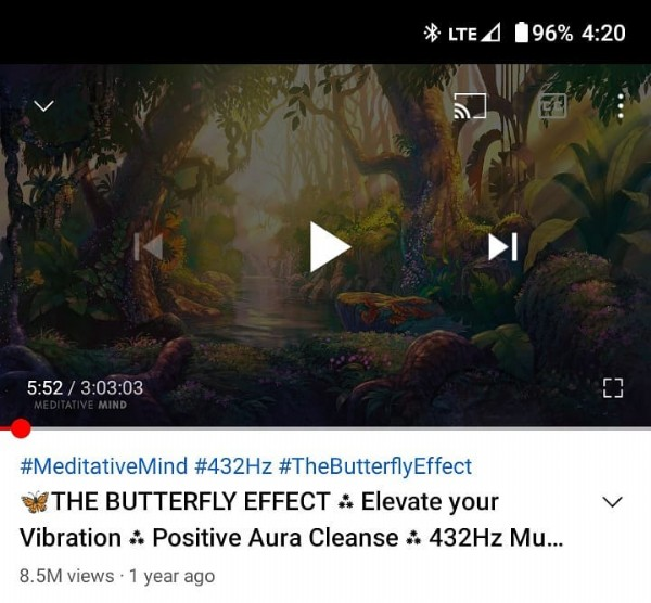 Photo by The Cosmic Garden Podcast in Seattle, Washington. May be an image of text that says 'LTE 96% 4:20 � 5:52 3:03:03 #MeditativeMind #432Hz #TheButterflyEffect THE BUTTERFLY EFFECT Elevate your Vibration Positive Aura Cleanse 432Hz Mu... 8.5M views year ago'.