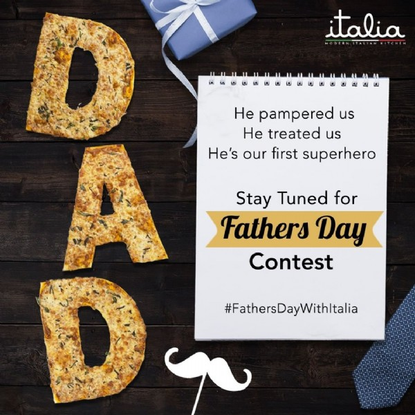 Photo by Italia on June 13, 2021. May be an image of text that says 'italia He pampered us He treated us He's our first superhero Stay Tuned for Fathers Day Contest #FathersDayWithItalia'.