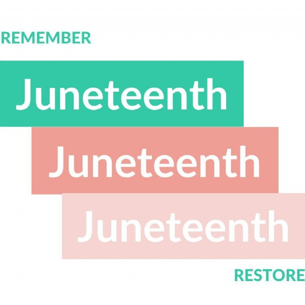Photo by Marie Deveaux on June 19, 2021. May be an image of text that says 'REMEMBER Juneteenth Juneteenth Juneteenth RESTORE'.