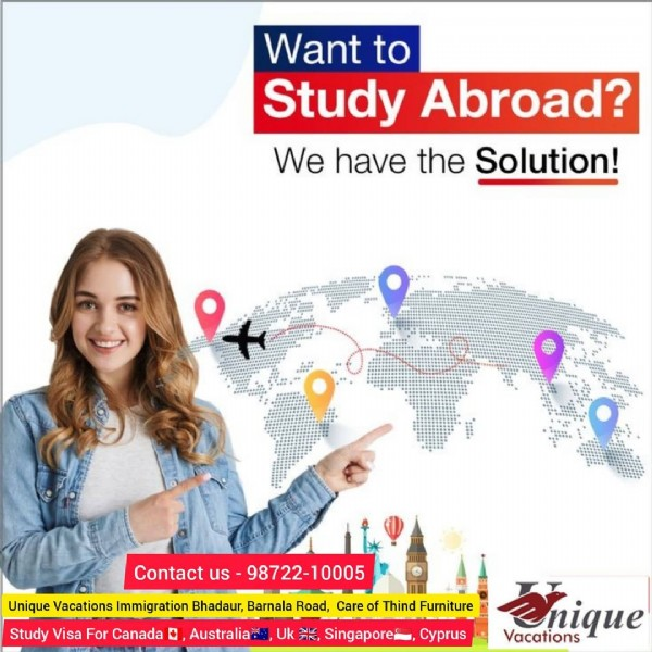 Photo by Thind Furniture Palace on June 19, 2021. May be an image of 1 person and text that says 'Want to Study Abroad? We have the Solution! 0% Contact us 98722-10005 Unique Vacations Immigration Bhadaur, Barnala Road, Care of Thind Furniture Study Visa For Canada Australia Uk 米, Singapore Cyprus Snique Vacations'.