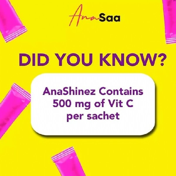 Photo by @anasaabeauty_supplement on September 22, 2021. May be an image of text that says 'Anasa DID YOU KNOW? AnaShinez Contains 500 mg of Vit c per sachet'.