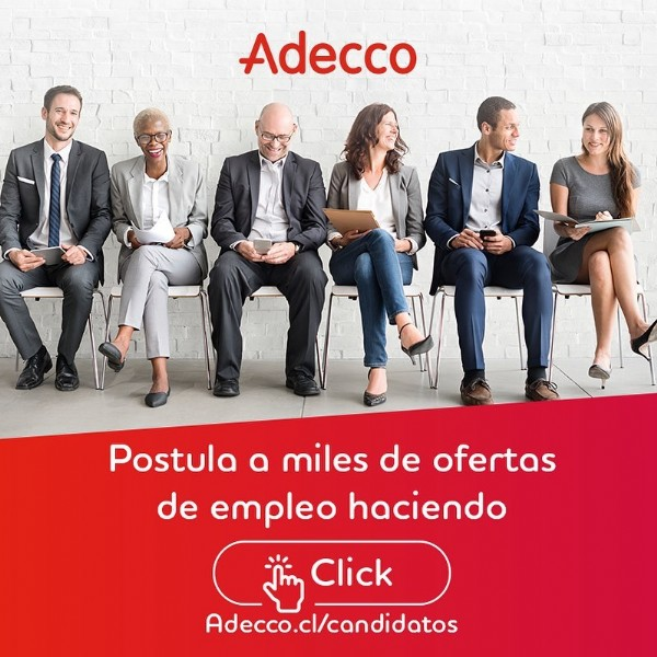 Photo by Adecco Chile on June 17, 2021. May be an image of 6 people and text that says 'Adecco Postula a miles de ofertas de empleo haciendo Click Adecco.cl/candidatos'.