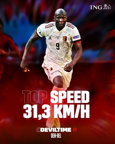 Photo by Belgian Red Devils in Parken Stadium with @ingbelgium, and @romelulukaku. May be an image of playing a sport and text that says 'ING RESPEC 9 TOP SPEED 31,3 KM/H DEVILTIME DEN-BEL'.