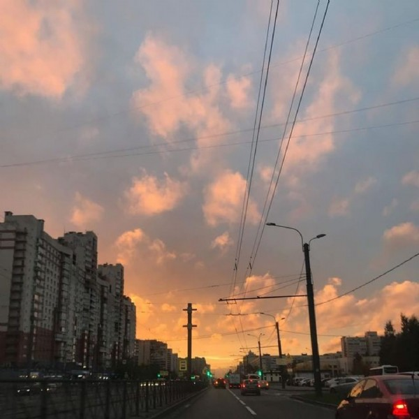 Photo by Polina on June 18, 2021. May be an image of twilight, road and cloud.