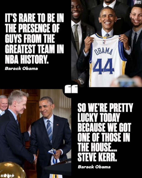 Photo by @hoops on June 09, 2021. May be an image of 6 people and text that says 'HOOPS IT'S RARE TO BE IN THE PRESENCE OF GUYS FROM THE GREATEST TEAM IN NBA HISTORY. Barack Obama OBAMA 44 SO WE'RE PRETTY LUCKY TODAY BECAUSE WE GOT ONE OF THOSE IN THE HOUSE.. STEVE KERR. Barack Obama'.