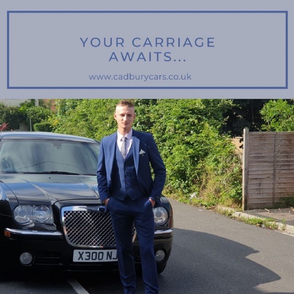 Photo by Katie Shaw on June 12, 2021. May be an image of 1 person, suit, car, outdoors and text that says 'YOUR CARRIAGE AWAITS... www.cadburycars.co.uk X300N'.