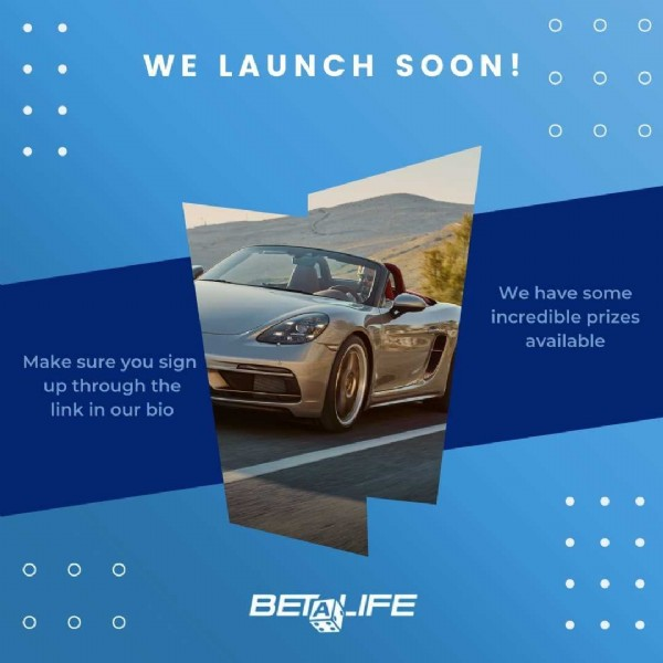 Photo by betalifeprizes.com on June 23, 2021. May be an image of car, outdoors and text that says 'WE LAUNCH SOON! Make sure you sign up through the link in our bio We have some incredible prizes available BETAN-IFE BETA FE'.