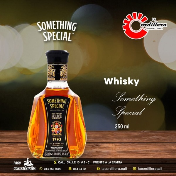 Photo by La Cordillera on June 05, 2021. May be an image of bottle and text that says 'SOMETHING SPECIAL veilior LA dillera DULCERIAY SOMETHING SPECIAL BLENDED SCOTCH Whisky Something Irecial 350 ml 1793 PAGO 啦 CONTRAENTREGA � 553 9723 CALI, CALLE 13 #2-01 FRENTE ALA ERMITA 2 884 88434 34 f lacordillera.cali Im lacordilleracali'.