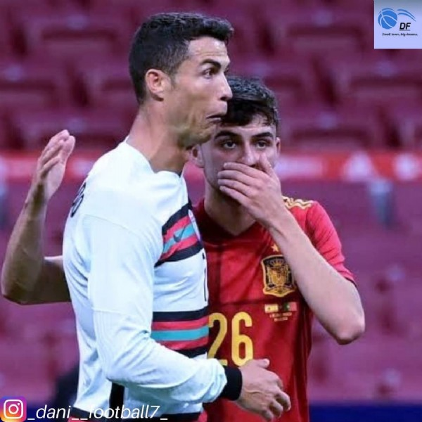 Photo shared by a loyal football fan❤⚽(4.5k) on June 05, 2021 tagging @cristiano, and @pedrigonzalez. May be an image of 2 people and text.