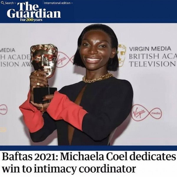 """Photo by Monia Aït El Hadj in Paris, France. May be an image of 1 person, standing and text that says 'Search The International Internationaledition editio Guardian For200years EDIA Î ACADE"""" SION AW VIRGIN MEDIA BRITISH ACA TELEVISION media Virgia Baftas 2021: Michaela Coel dedicates win to intimacy coordinator'."""