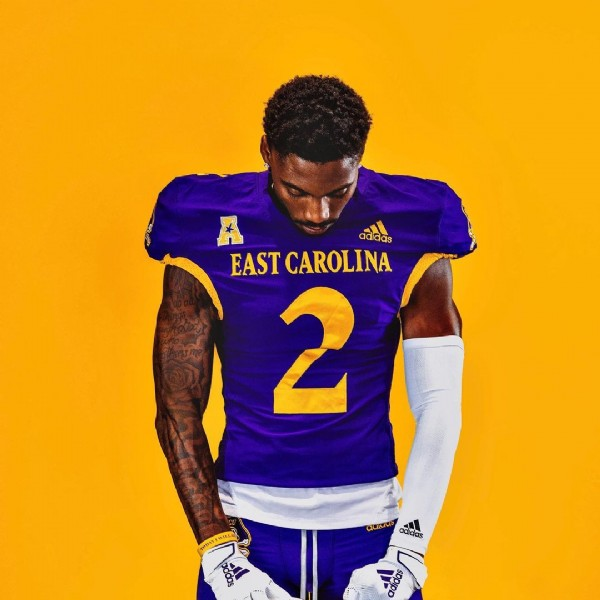 Photo by Sherry Hursey on July 27, 2021. May be an image of 1 person and text that says 'adidas EASTCAROLINA 2 T adidas'.