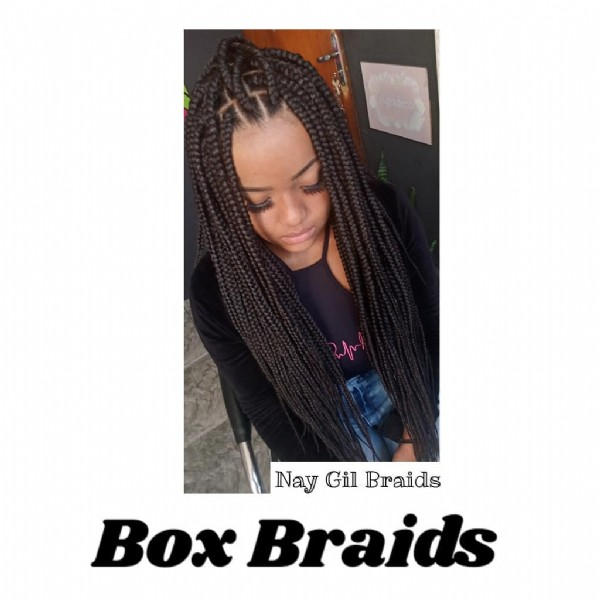 Photo by Nay Gil Braids on June 06, 2021. May be an image of 1 person, braids and text that says 'Nay Gill Braids Box Braids'.