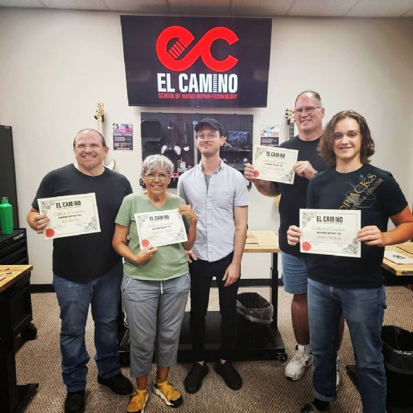 Photo by El Camino School in El Camino School with @raykguitarist, @nicholasscout, and @elcaminoschoolusa. May be an image of 5 people, people standing, indoor and text.