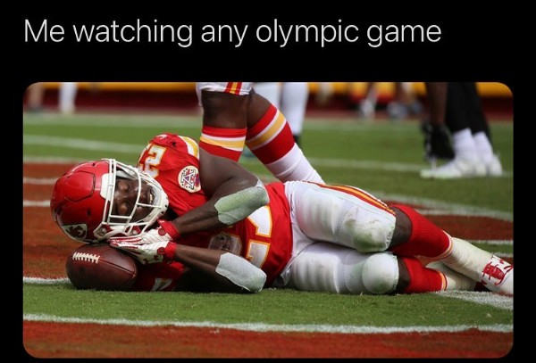 Photo by   -    on July 27, 2021. May be an image of football and text that says 'Me watching any olympic game'.