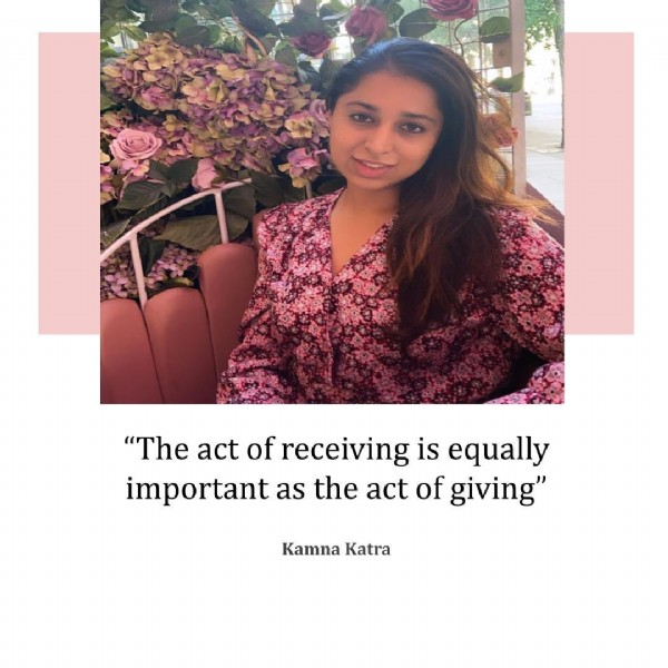 """Photo by Kamna on June 20, 2021. May be an image of 1 person, flower and text that says '""""The act of receiving is equally important as the act of giving"""" Kamna Katra'."""