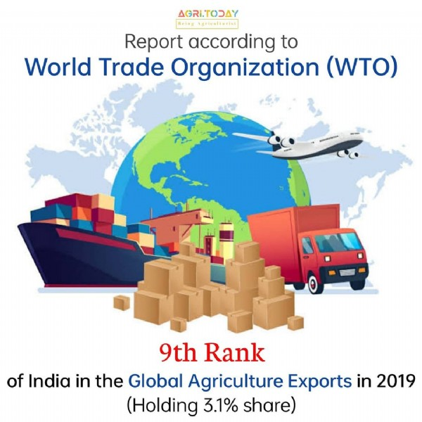 Photo shared by AGRICULTURAL'S UPDATES on July 28, 2021 tagging @worldtradeorganization. May be an image of text that says 'AGRITODAY Being Agriculturist Report according to World Trade Organization (WTO) 9th Rank of India in the Global Agriculture Exports in 2019 (Holding 3.1% share)'.