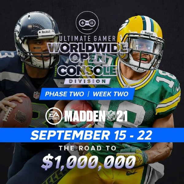 Photo by The Ultimate Gamer on September 20, 2021. May be an image of 1 person, playing football and text that says 'Ricdel! Ridde! ULTIMATE GAMER WORLDWID OPEN CONSOLE DIVISION PHASE TWO WEEK TWO EA SPORTS MADDEN 21 SEPTEMBER 15 15-22 22 THE ROAD TO $1,000,000'.