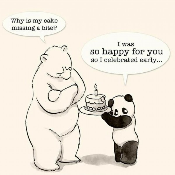 Photo shared by Liezel Thorne (Liz) on June 19, 2021 tagging @ranger_sam.za. May be a cartoon of text that says 'Why is my cake missing a bite? I was so happy for you so I celebrated early...'.