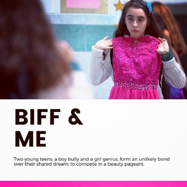 Photo by Biff & Me - Short Film on June 14, 2021. May be an image of 1 person and text that says 'BIFF & ME Two young teens, a boy bully and a girl genius form an unlikely bond over their shared dream: to compete in a beauty pageant.'.