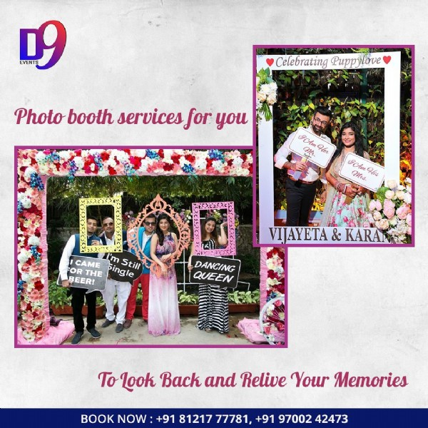 Photo by D9events on June 19, 2021. May be an image of 7 people and text that says '99 EVENTS Celebrating Puppylove Photo booth services for you Am Her Am Mrs. His VIJAYETA& KARAK CAME DOD I'm FOR DANCING BEER! THE Single Still QUEEN To Look Back and Relive Your Memories BOOK NOW: +91 81217 77781, +91 97002 42473'.
