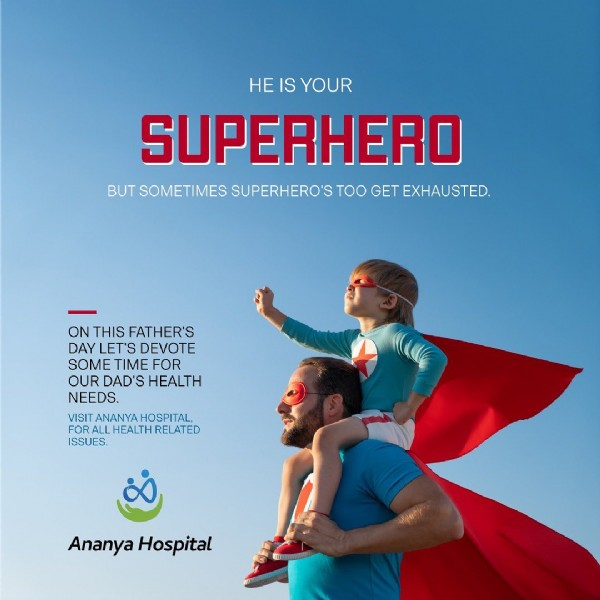Photo by Ananya Hospital in Gondia,maharastra. May be an image of 1 person and text that says 'He IS YOUR SUPERHERO BUT SOMETIMES SUPERHERO'S TOO GET EXHAUSTED. ON THIS FATHER'S DAY LET'S DEVOTE SOME TIME FOR OUR DAD'S HEALTH NEEDS. ISIANANYAHOSPITAL FRLLD ISSUES. Ananya Hospital'.