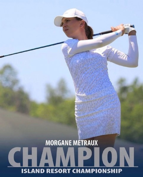 Photo shared by Lake Nona Golf & Country Club on June 13, 2021 tagging @morganemetraux. May be an image of one or more people and text that says 'TPA MORGANE METRAUX CHAMPION ISLAND RESORT CHAMPIONSHIP'.