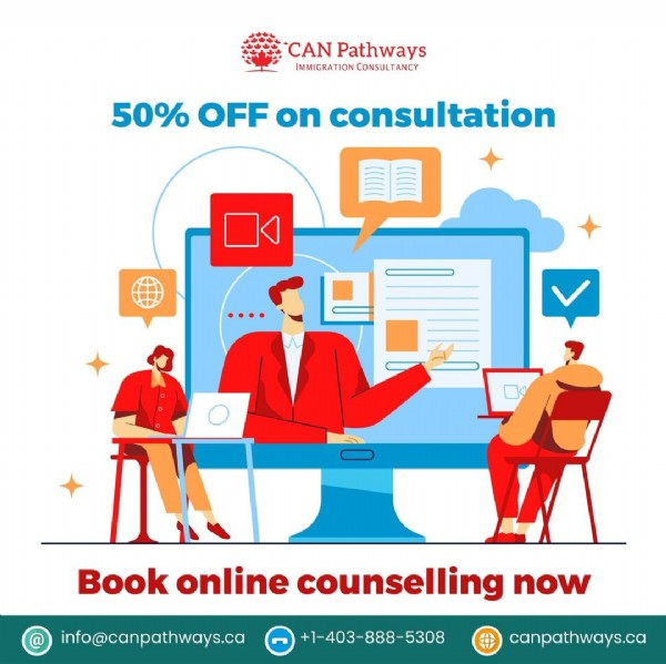 Photo by CAN Pathways Immigration on June 10, 2021. May be an image of one or more people, office and text that says 'CAN Patwys IMMIGRATIONCONSULTANCY 50% OFF on consultation Book online counselling now info@canpathways.ca +1-403-888-5308 canpathways.ca'.