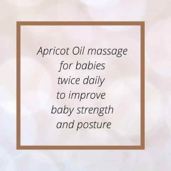 Photo by Vna Organics on June 08, 2021. May be an image of one or more people and text that says 'Apricot Oil massage for babies twice daily to improve baby strength and posture'.