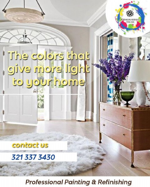 Photo by Kadaluk service USA lLC in Orlando, Florida with @kadalukserviceusa. May be an image of furniture, indoor and text that says 'RADALUKSERVICE USAI KADALUK SERVICE The colors that give more light to yourhome your contact US 321 337 3430 Professional Painting & Refinishing'.